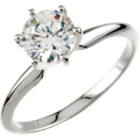 Solid 14k Gold CZ Cubic Zirconia 6 Prong Solitaire Engagement Ring - Product Image