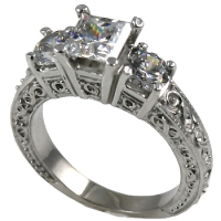 Platinum  2 ctw 3 Stone Antique Princess/Round Cubic Zirconia Ring - Product Image
