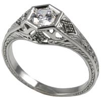 Platinum 1/2 ct CZ Cubic Zirconia Antique/Deco Solitaire Ring - Product Image