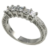 Platinum 1 ctw Princess Antique Wedding/Anniversary CZ Band Ring - Product Image