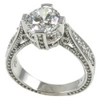 Platinum 1.5 or 2ct Fancy Antique/Victorian CZ Cubic Zirconia Ring - Product Image