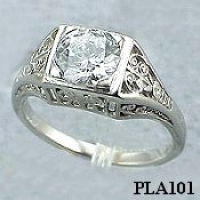 Platinum 1ct CZ Antique/Deco style Engagement ring - Product Image
