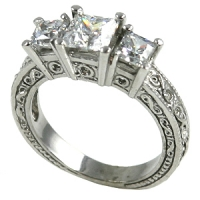 Platinum 2 ctw 3 Stone Antique Princess CZ Cubic Zirconia Ring - Product Image