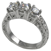 Platinum 3 Stone Antique Anniversary CZ Cubic Zirconia Ring - Product Image