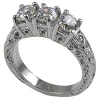 Platinum 3 Stone Antique Anniversary CZ Cubic Zirconia Ring - Product Image