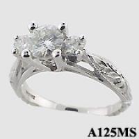 Platinum 3 Stone Antique style CZ Cubic Zirconia Ring - Product Image