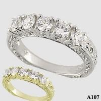 Platinum Antique 5 Stone Wedding/Anniversary Ring Band - Product Image