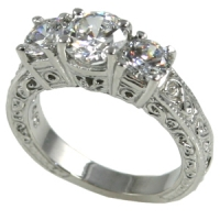 Platinum Antique Estate 3 Stone Engagement Ring  2 ctw - Product Image