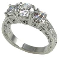 Platinum Antique Estate 3 Stone Engagement Ring  2 ctw - Product Image