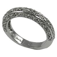 Platinum Antique Fancy Filigree Wedding Band Ring - Product Image