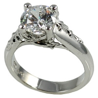 Platinum Antique/Floral CZ Cubic Zirconia Engagement Ring - Product Image
