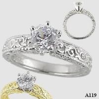 Platinum Antique/Victorian Cubic Zirconia Engagement Ring - Product Image