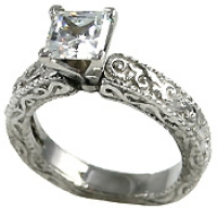 Platinum Antique Victorian Engagement CZ Cubic Zirconia Ring - Product Image