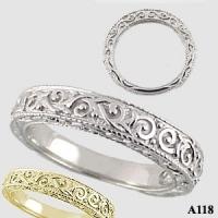 Platinum Antique/Victorian Wedding Anniversary Band Ring - Product Image