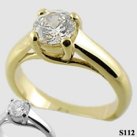 Platinum CZ Cubic Zirconia Lucern Solitaire Engagement Wedding Ring - Product Image