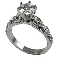 Platinum Lotus Crest Antique Wedding/Engagement Cubic Zirconia Rings - Product Image