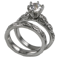Platinum Lotus Crest Antique Wedding Set Cubic Zirconia Rings - Product Image