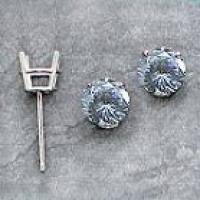 Platinum Russian CZ Cubic Zirconia Stud Basket Earrings - Product Image