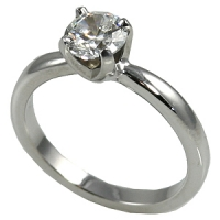 Platinum Solstice CZ/Cubic Zirconia Solitaire Engagement Ring - Product Image