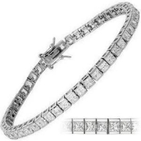 Solid 14k Gold 4 or 6 Carat Princess Cut CZ Cubic Zirconia Tennis Bracelet - Product Image