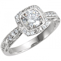 Solid 14k Gold Any Shape Center Stone Sculpture Inspired Halo Style Engagement Ring  - Product Image