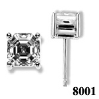 Solid 14k Gold Asscher Cut Russian CZ Cubic Zirconia Earrings - Product Image