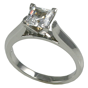 c7d9da653b9242 Solid 14k Gold CZ Cubic Zirconia 4 Prong Princess Cut Cathedral ...
