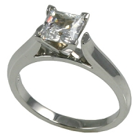Solid 14k Gold CZ Cubic Zirconia 4 Prong Princess Cut Cathedral Solitaire Engagement Ring - Product Image