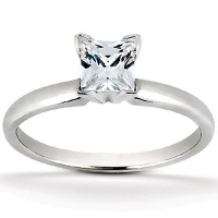 "Solid 14k Gold CZ Cubic Zirconia 4 ""V"" Prong Princess Cut Solitaire Engagement Ring - Product Image"