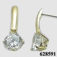 Solid 14k Gold CZ Cubic Zirconia Dangle Earrings - Product Image