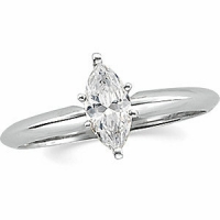 Solid 14k Gold CZ Marquis Cubic Zirconia 6 Prong Solitaire Engagement Ring - Product Image