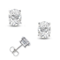 Solid 14k Gold Oval Cut Russian CZ Cubic Zirconia Earrings - Product Image