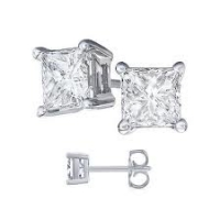 Solid 14k Gold Princess Cut CZ Cubic Zirconia Basket Style Earrings - Product Image