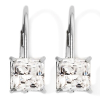 Solid 14k Gold Princess Cut Russian CZ Cubic Zirconia Lever-back Earrings - Product Image