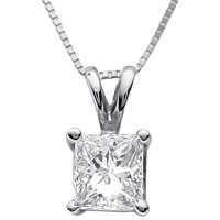 Solid 14k Gold Princess Cut Russian CZ Cubic Zirconia Pendant - Product Image