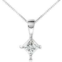 Solid 14k Gold Princess or Asscher Cut Russian Cubic Zirconia Basket Pendant - Product Image