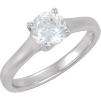 Solid 14k Gold Round Brilliant CZ Cubic Zirconia Lucern Solitaire Engagement Ring - Product Image