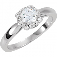 Solid 14k Gold Round Brilliant Cut CZ Cubic Zirconia Halo Style Solitaire Ring  - Product Image