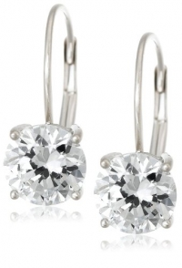 Solid 14k Gold Russian CZ Cubic Zirconia Round Lever-Back Earrings - Product Image