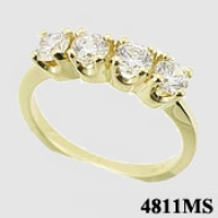 Sterling Silver 1 CTW CZ 4 Stone Wedding/Anniversary Band Ring - Product Image
