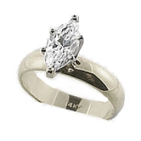 Sterling Silver 1 Carat Marquis CZ 4mm Wide Band Engagement Ring - Product Image