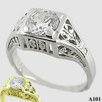 Sterling Silver 1 carat CZ Cubic Zirconia Antique/Deco style ring - Product Image
