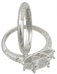 Sterling Silver 2.50cttw 3 Stone Princess Cut w/ Pave' Accent Stones Wedding Set  - Product Image