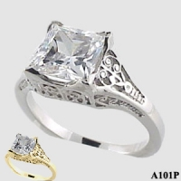Sterling Silver 2ct Princess CZ Antique/Deco style ring - Product Image