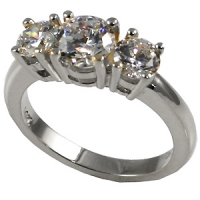Sterling Silver 3 Stone CZ/Cubic Zirconia Anniversary Ring - Product Image