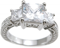 Sterling Silver 3cttw 3 Stone Russian Cubic Zirconia Princess Cut Antique Inspired Ring - Product Image