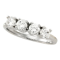 Sterling Silver 4 Stone CZ Anniversary Ring Wedding Band - Product Image