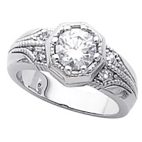 "Sterling Silver Antique Estate Round Brilliant Cut CZ ""Empress"" Ring - Product Image"