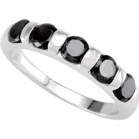 Sterling Silver Black Russian CZ Round Brilliant Cut '5 Stone' Anniversary Ring - Product Image