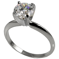 Sterling Silver CZ Cubic Zirconia 4 Prong Solitaire Engagement Ring - Product Image